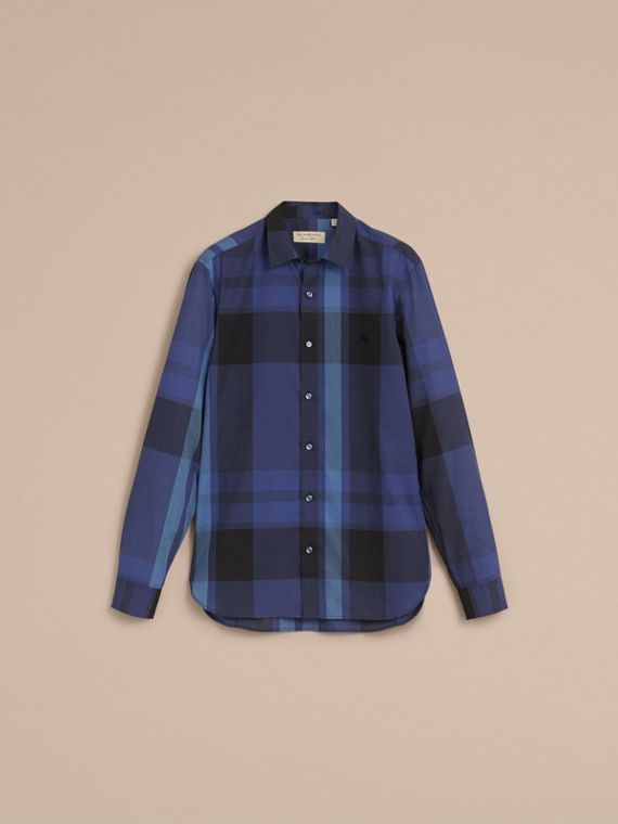 Check Cotton Linen Shirt in Bright Navy - Men | Burberry - cell image 3