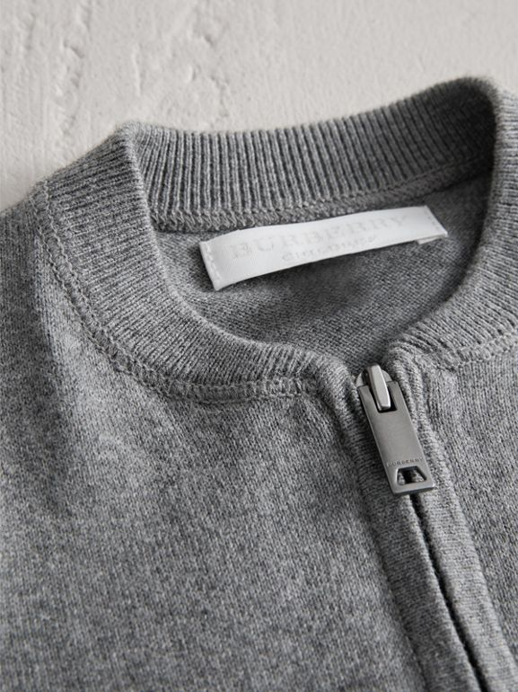 Check Detail Cotton Cardigan in Mid Grey Melange | Burberry - cell image 1