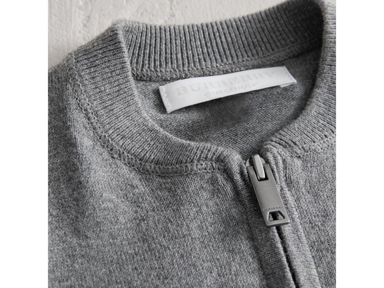 Check Detail Cotton Cardigan in Mid Grey Melange | Burberry Singapore - cell image 1
