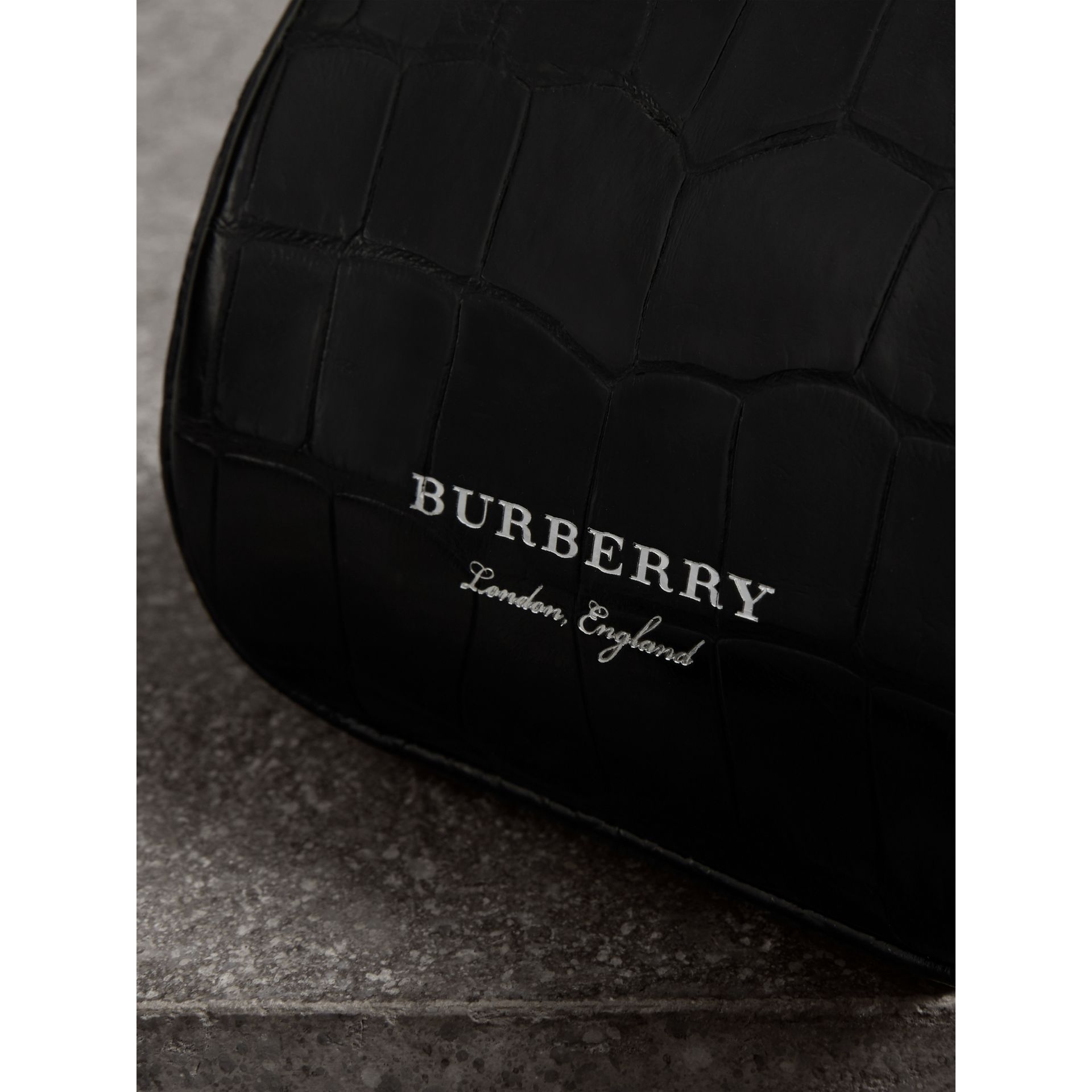 Mini Alligator Metal Frame Clutch Bag in Black - Women | Burberry - gallery image 1