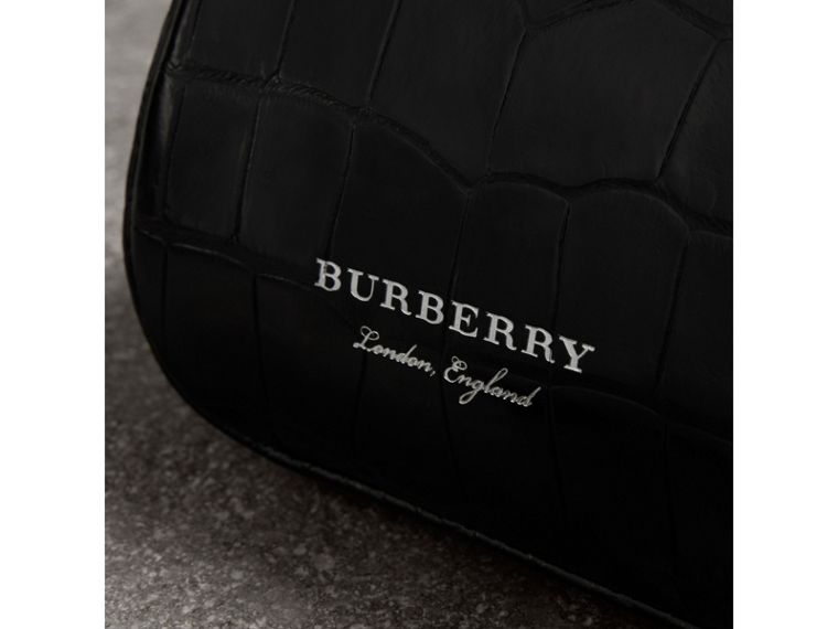 Mini Alligator Metal Frame Clutch Bag in Black - Women | Burberry - cell image 1