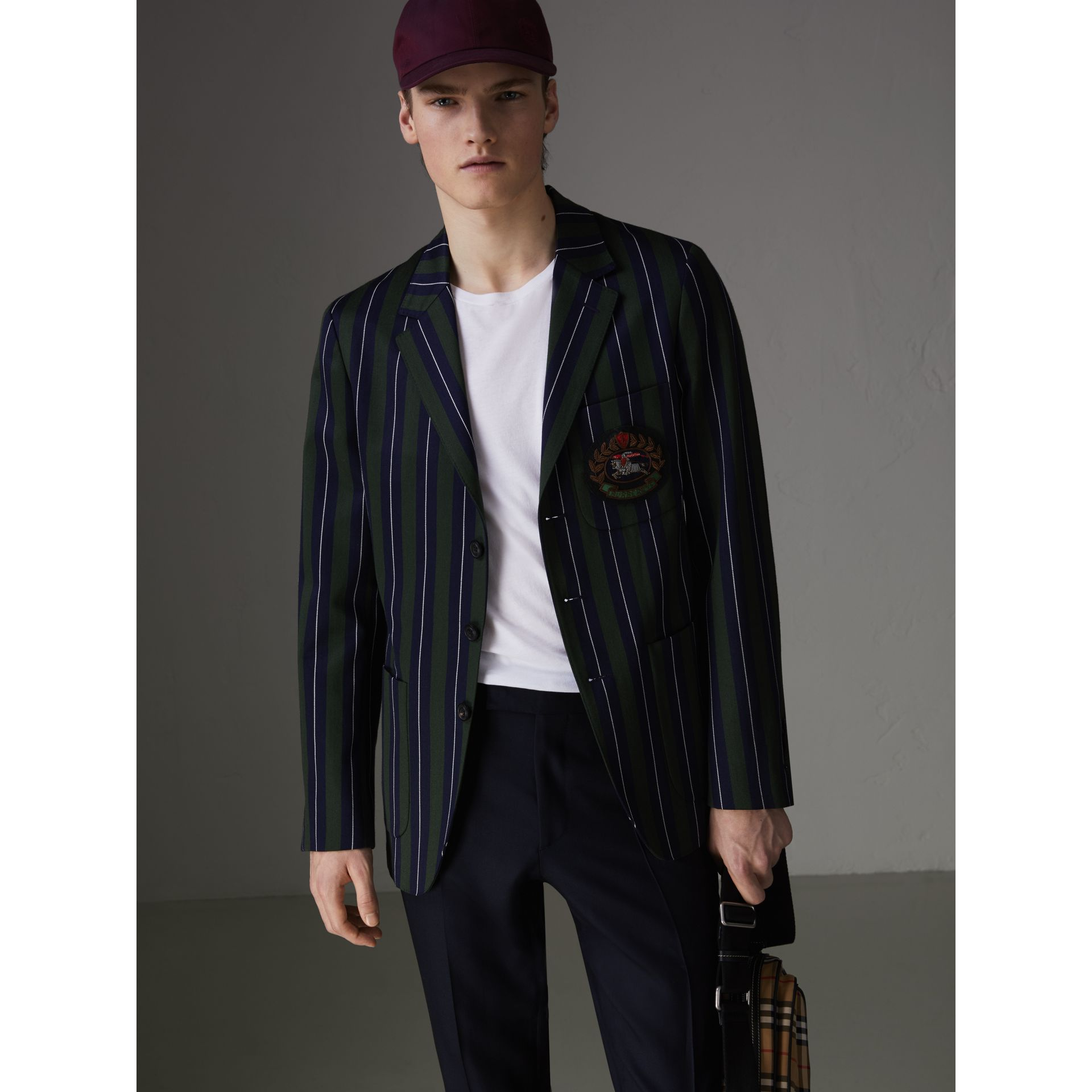 Slim Fit Striped Wool Cotton Club Blazer in Dark Forest Green - Men | Burberry United Kingdom - gallery image 6