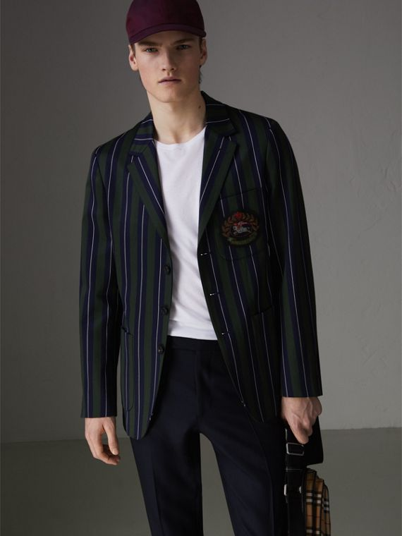Archive Crest Striped Wool Cotton Tailored Jacket in Dark Forest Green