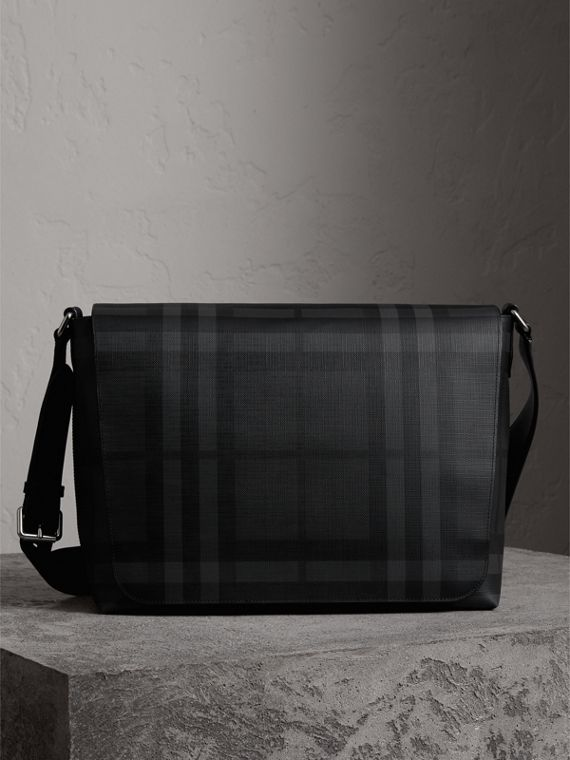 Large London Check Messenger Bag in Charcoal/black