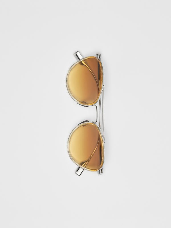 Glitter Detail Pilot Sunglasses in Yellow - Women | Burberry Australia - cell image 2