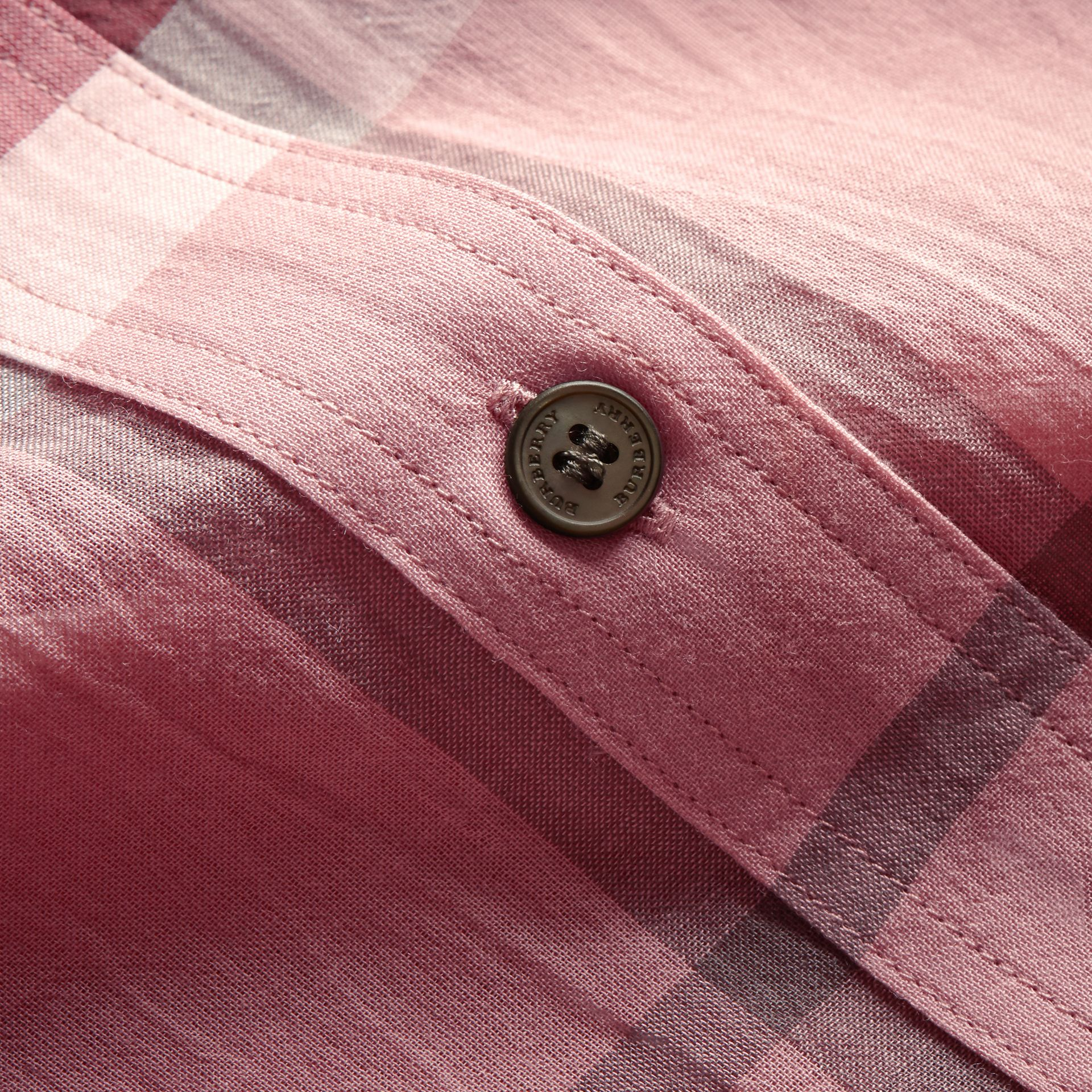 Short-sleeve Check Cotton Tie Neck Shirt in Antique Pink - Women | Burberry - gallery image 1