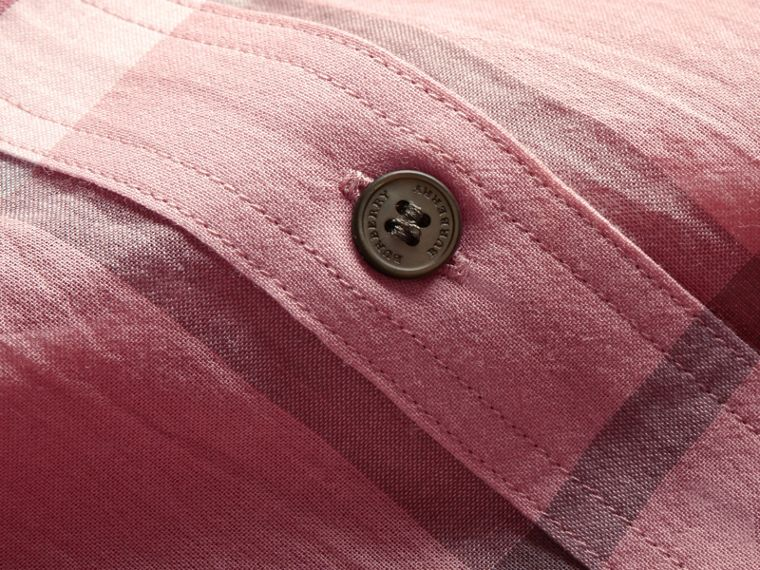 Short-sleeve Check Cotton Tie Neck Shirt in Antique Pink - Women | Burberry Hong Kong - cell image 1