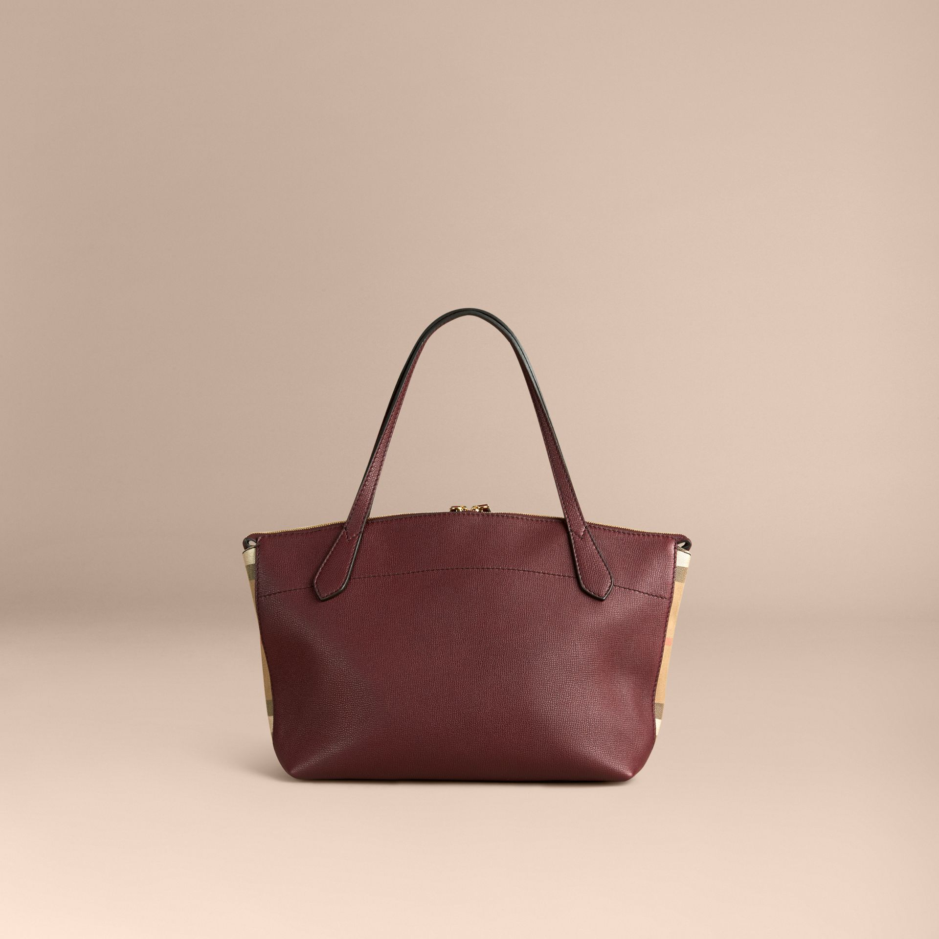 Medium Leather and House Check Tote Bag - gallery image 4