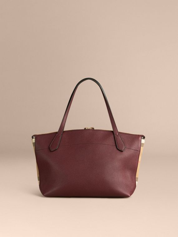 Rouge acajou Sac tote medium en cuir et coton House check Rouge Acajou - cell image 3