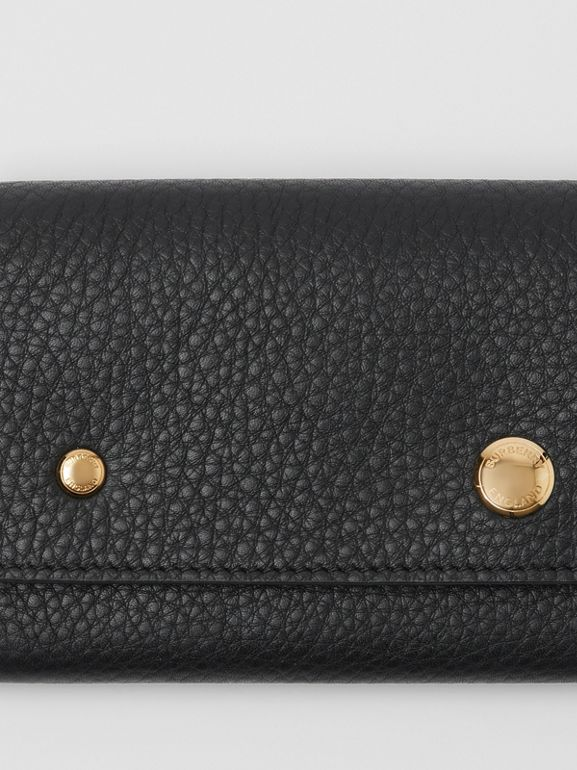 Grainy Leather Continental Wallet in Black - Women | Burberry Canada - cell image 1