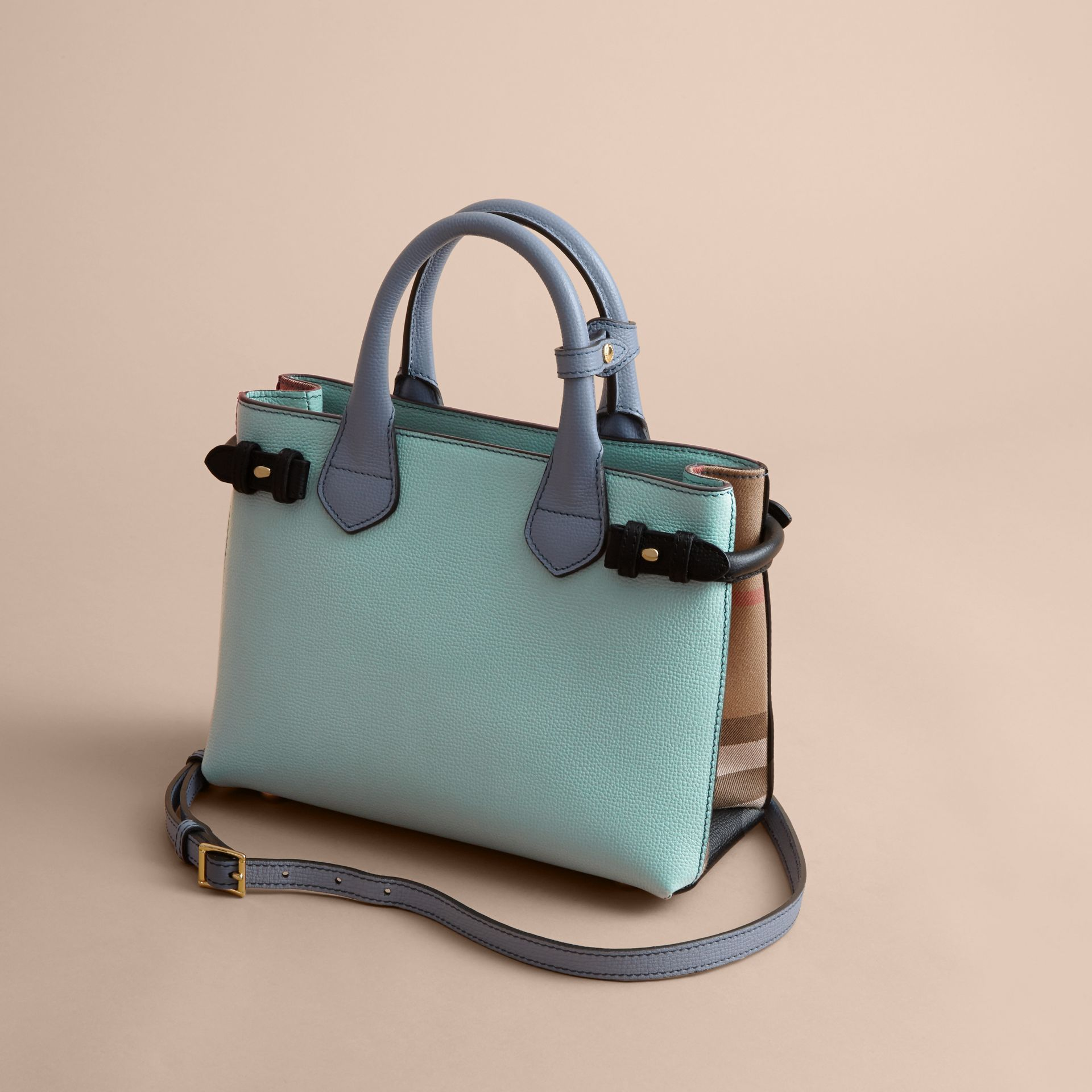 The Small Banner in Tri-tone Leather and House Check in Pale Opal/slate Blue - Women | Burberry - gallery image 5