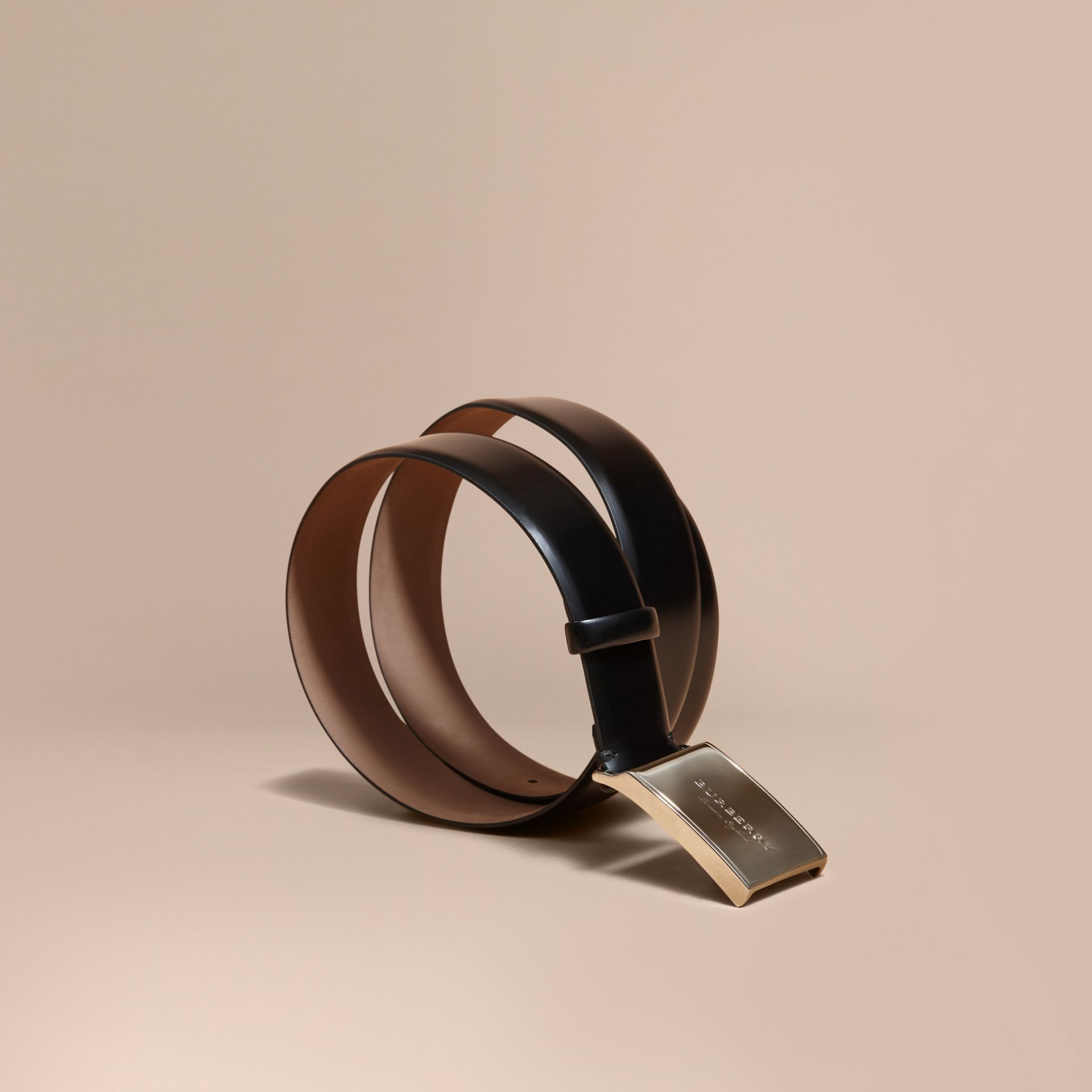 Polished Plaque Buckle Bridle Leather Belt in Black - Men | Burberry - gallery image 1