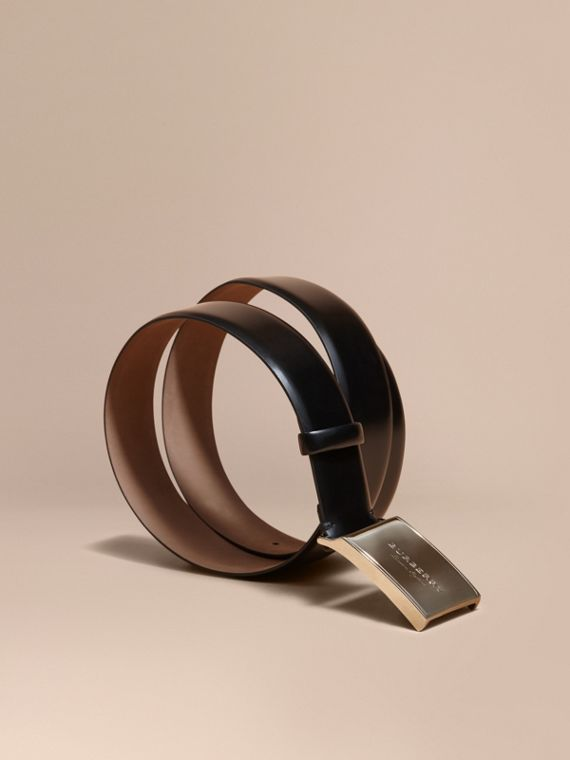 Polished Plaque Buckle Bridle Leather Belt - Men | Burberry Hong Kong
