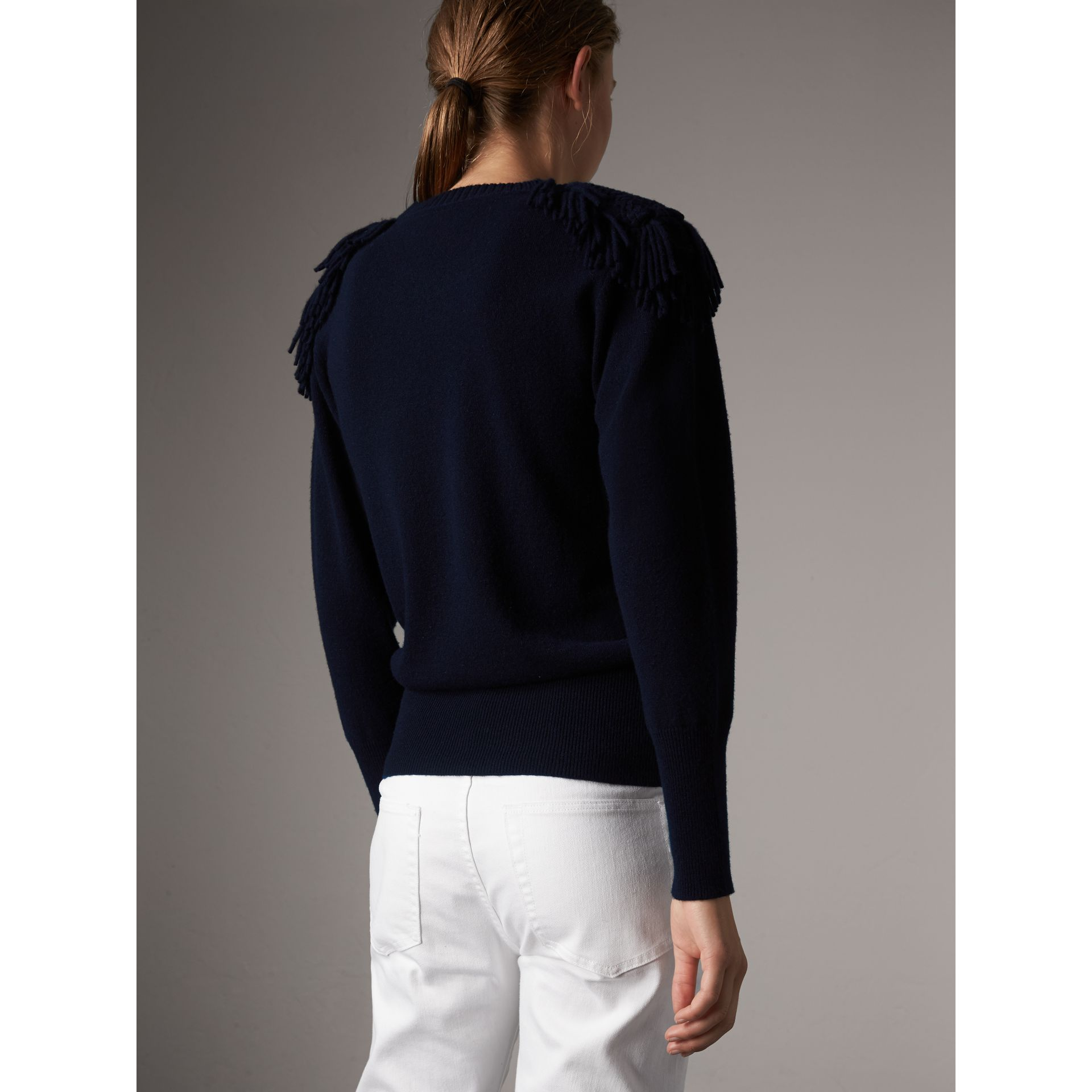 Military Braid Detail Wool Cashmere Sweater in Navy - Women | Burberry - gallery image 3