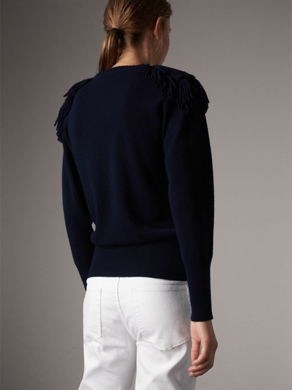 Military Braid Detail Wool Cashmere Sweater in Navy - Women | Burberry - cell image 2