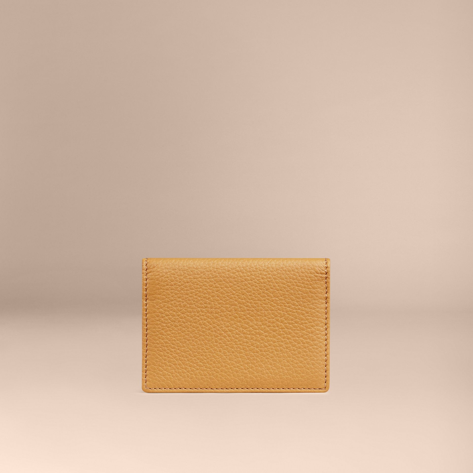 Grainy Leather Card Case in Ochre Yellow - gallery image 2
