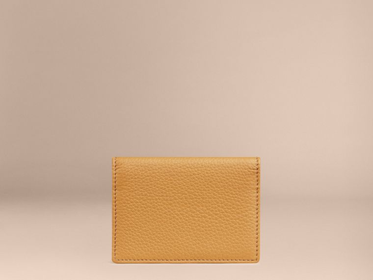 Grainy Leather Card Case Ochre Yellow - cell image 1