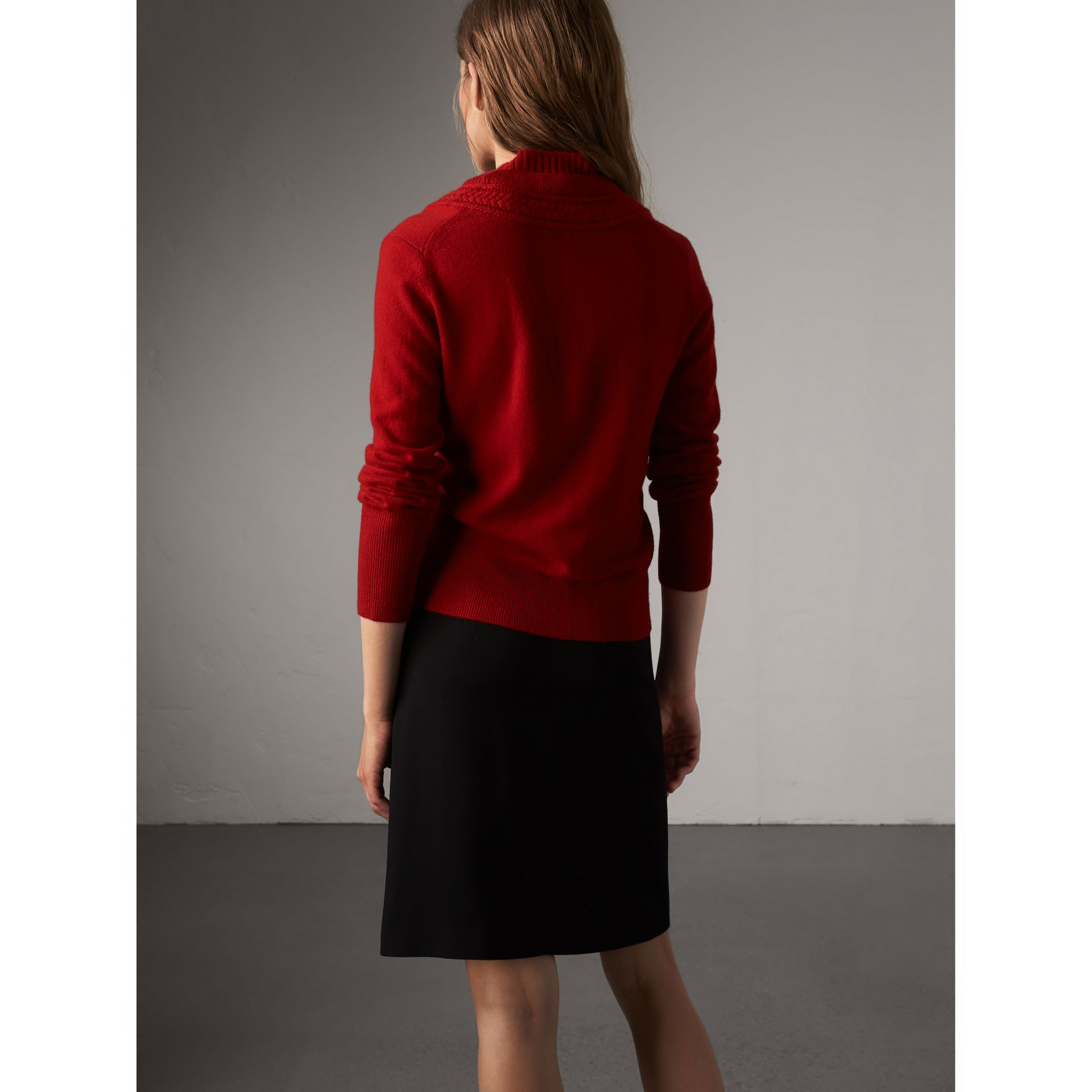 Cable Knit Detail Cashmere Cardigan in Military Red - Women | Burberry Canada - gallery image 2