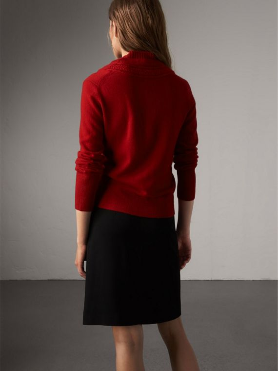 Cable Knit Detail Cashmere Cardigan in Military Red - Women | Burberry Singapore - cell image 2