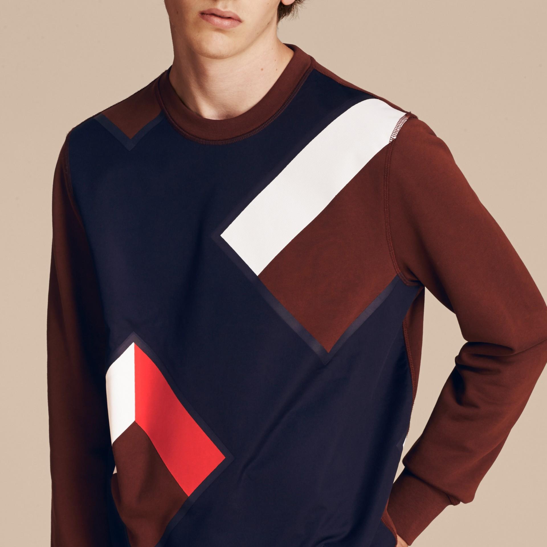 Geometric Appliqué Cotton Sweater - gallery image 5