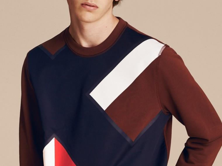 Geometric Appliqué Cotton Sweater - cell image 4