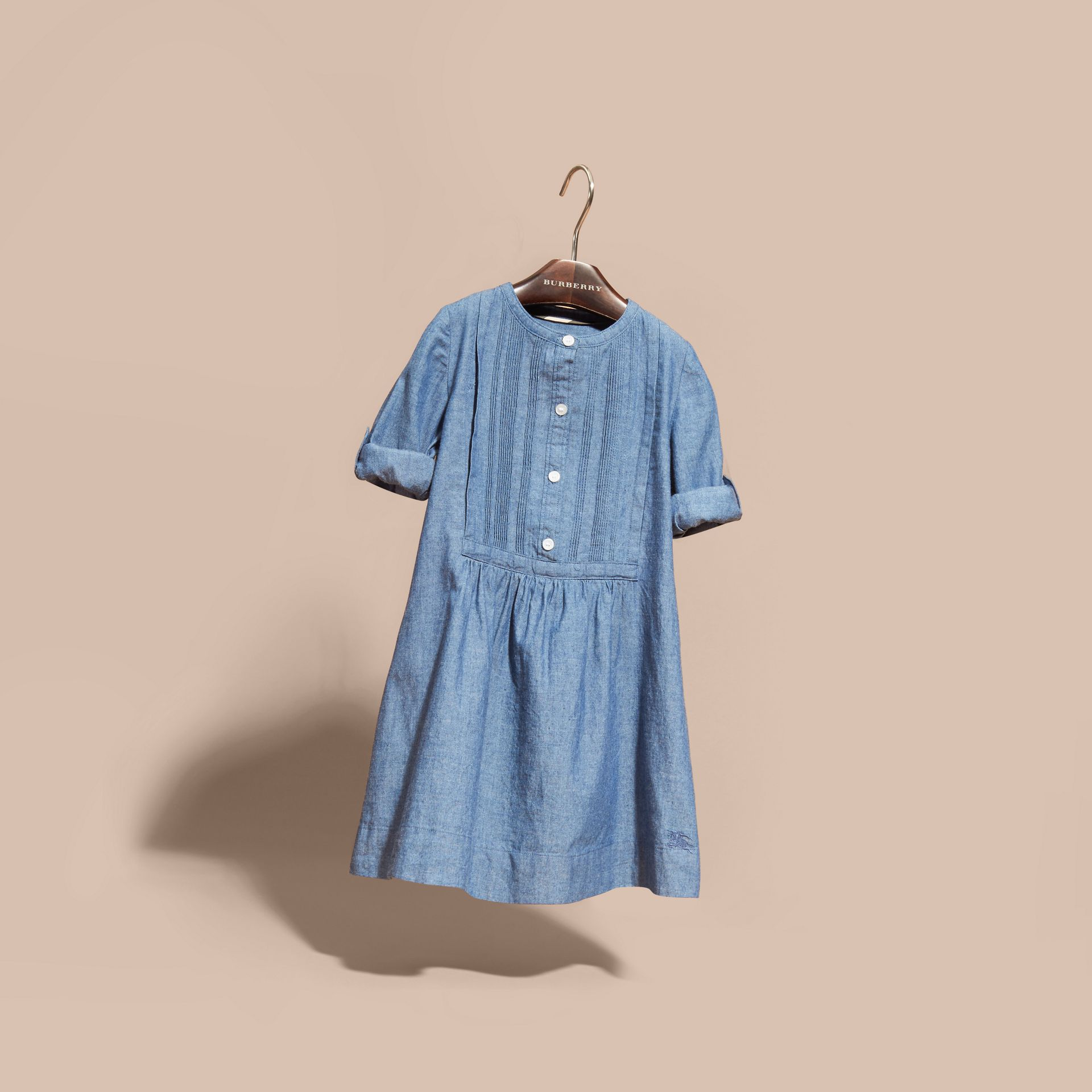 Pintuck Detail Cotton Chambray Dress - gallery image 3