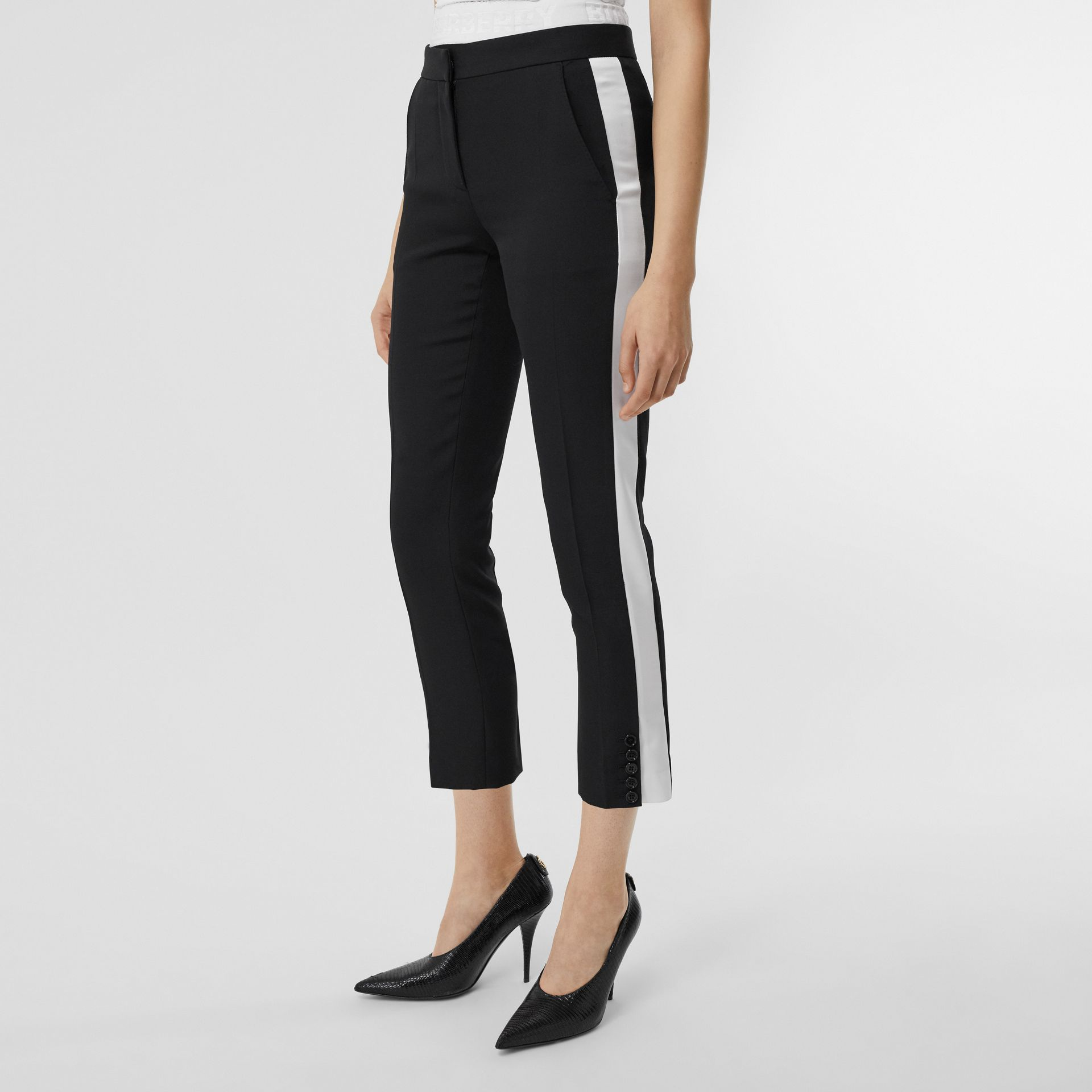 Side Stripe Wool Tailored Trousers in Black - Women | Burberry Singapore - gallery image 4