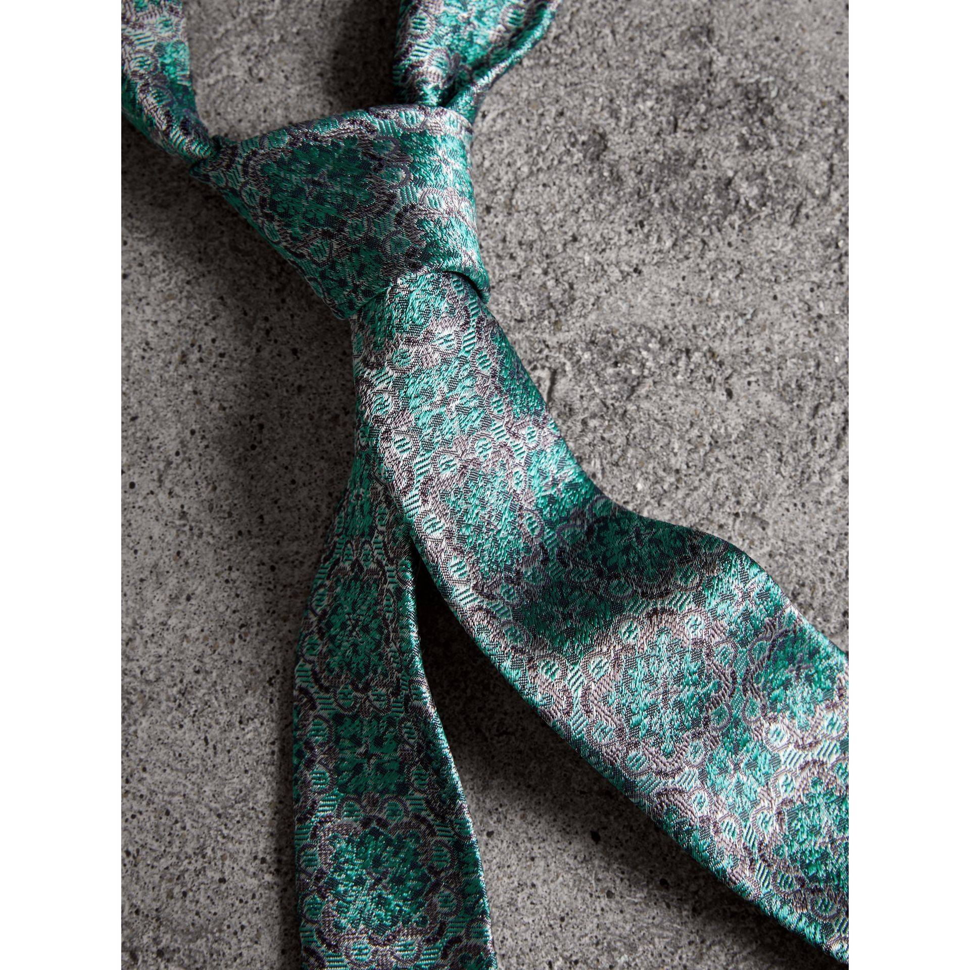 Slim Cut Silk Jacquard Tie in Turquoise - Men | Burberry - gallery image 2