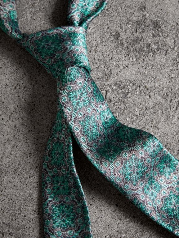Slim Cut Silk Jacquard Tie in Turquoise - Men | Burberry - cell image 1