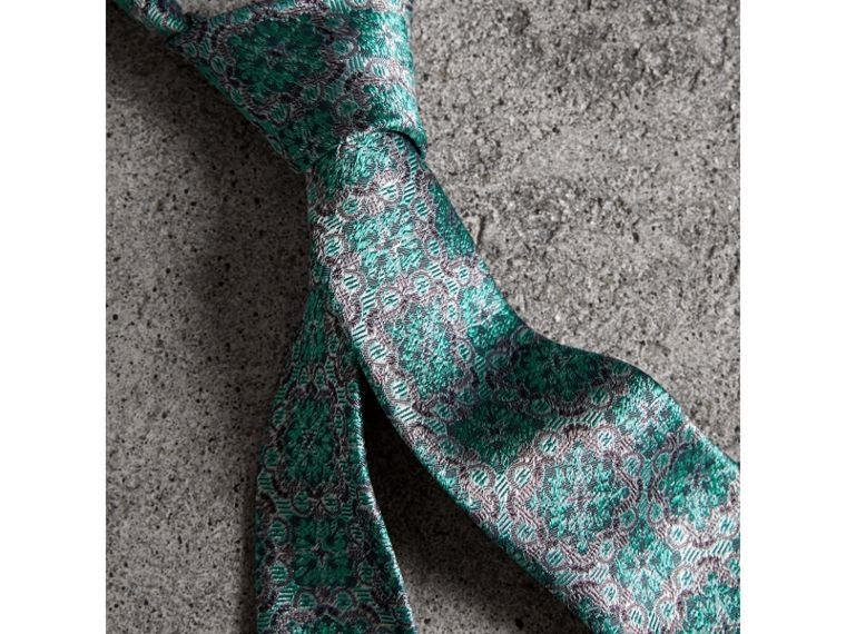 Slim Cut Silk Jacquard Tie in Turquoise - Men | Burberry United Kingdom - cell image 1