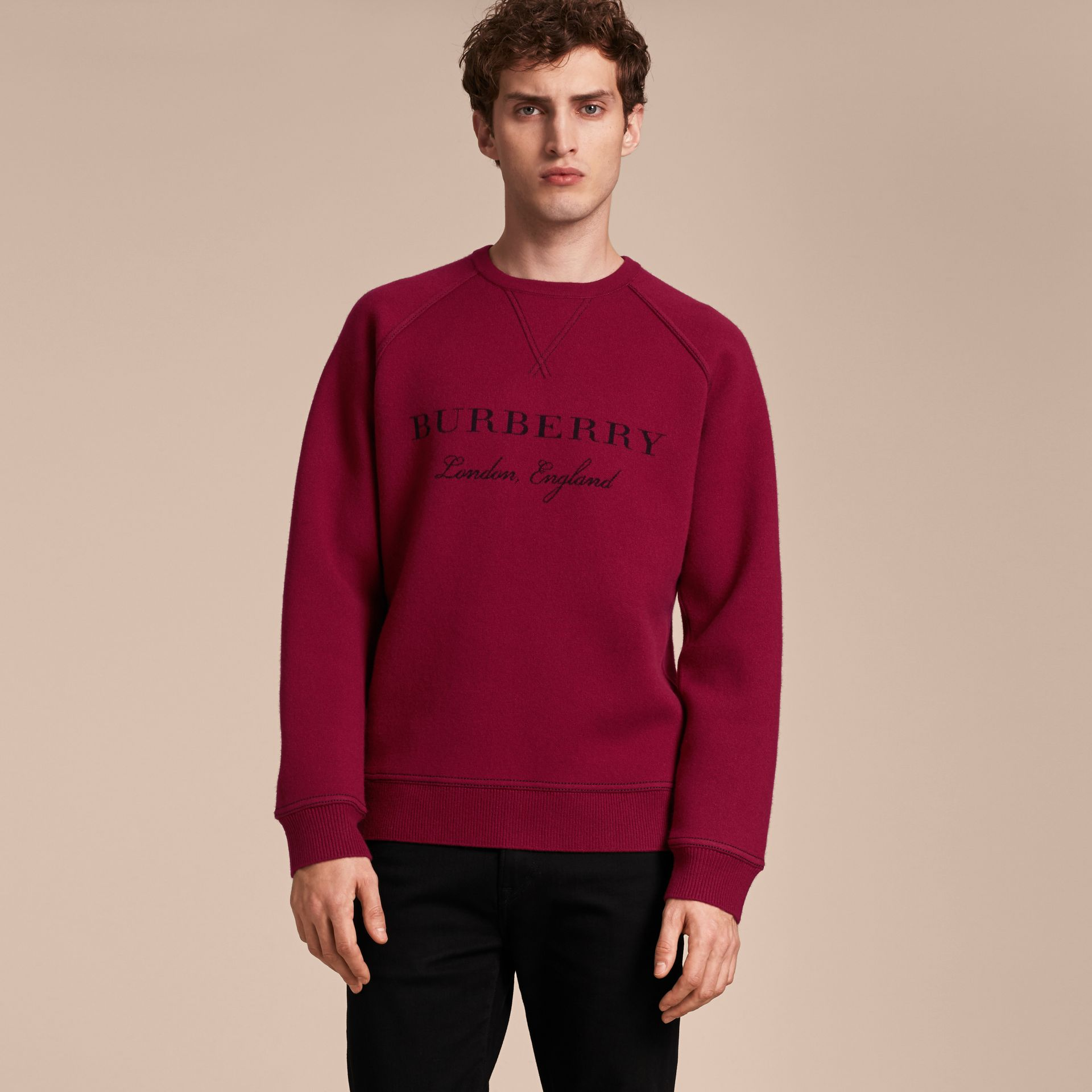 Topstitch Detail Wool Cashmere Blend Sweatshirt in Burgundy - Men | Burberry - gallery image 6