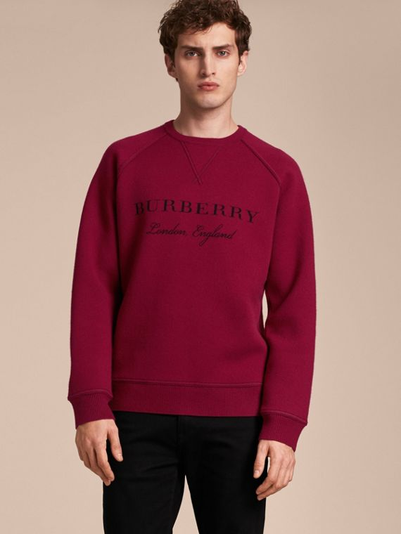 Topstitch Detail Wool Cashmere Blend Sweatshirt in Burgundy
