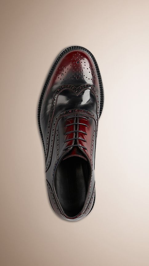 Bordeaux Leather Wingtip Brogues With Rubber Sole Bordeaux - Image 3