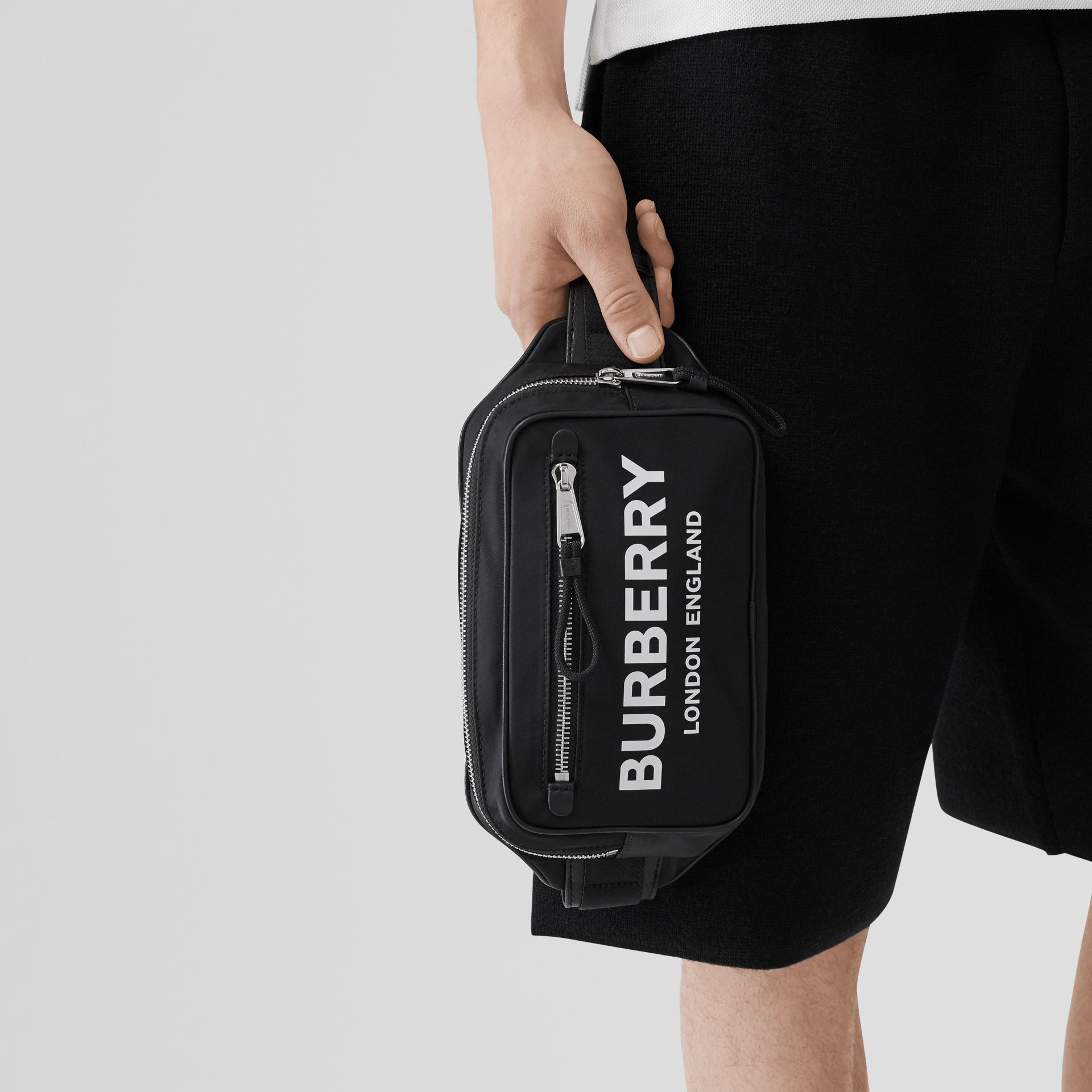 Logo Print Nylon Bum Bag in Black | Burberry - gallery image 2