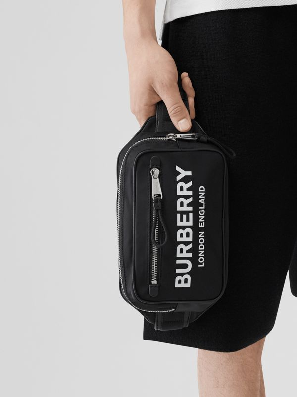 Logo Print Nylon Bum Bag in Black | Burberry - cell image 2