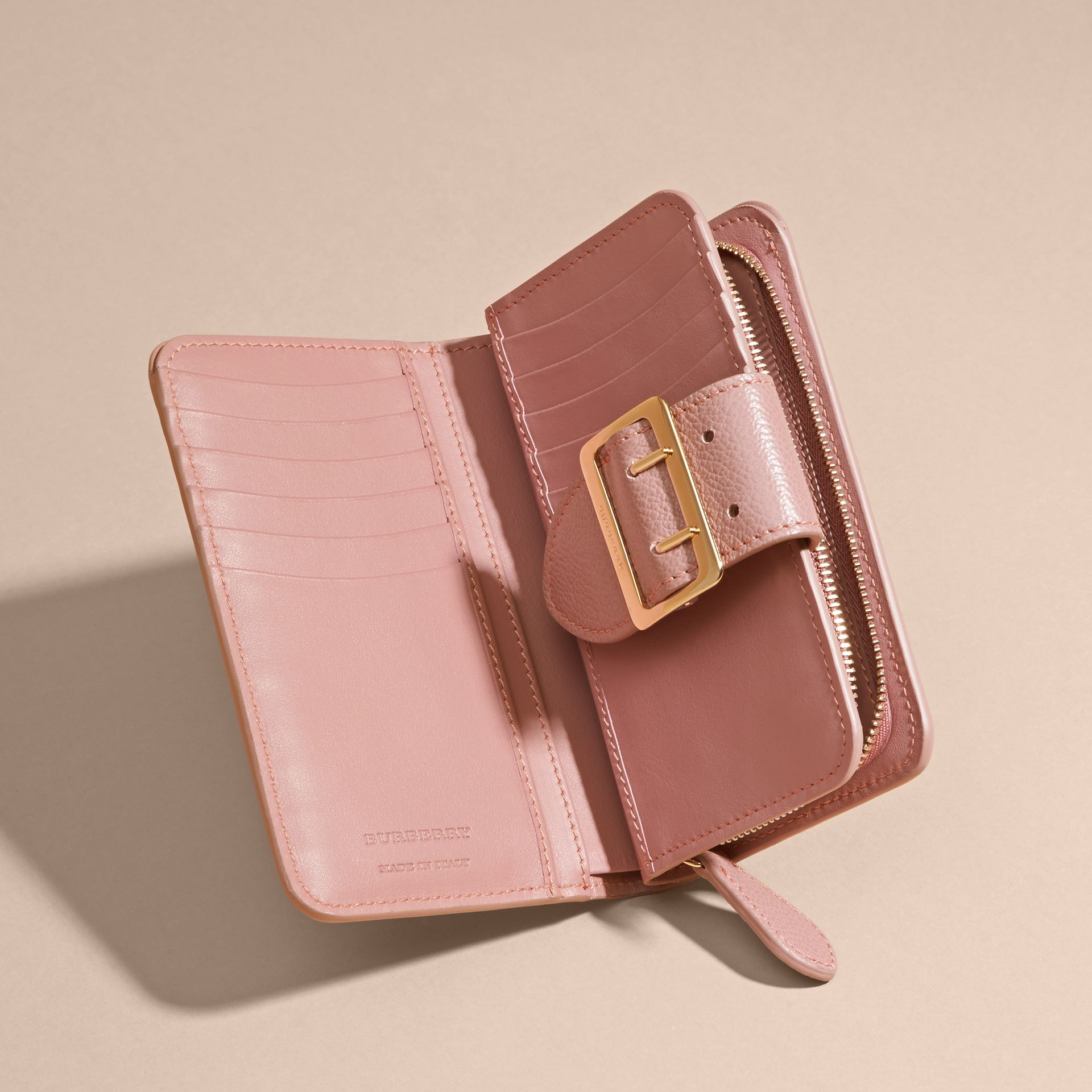 Dusty pink Buckle Detail Grainy Leather Wallet Dusty Pink - gallery image 5