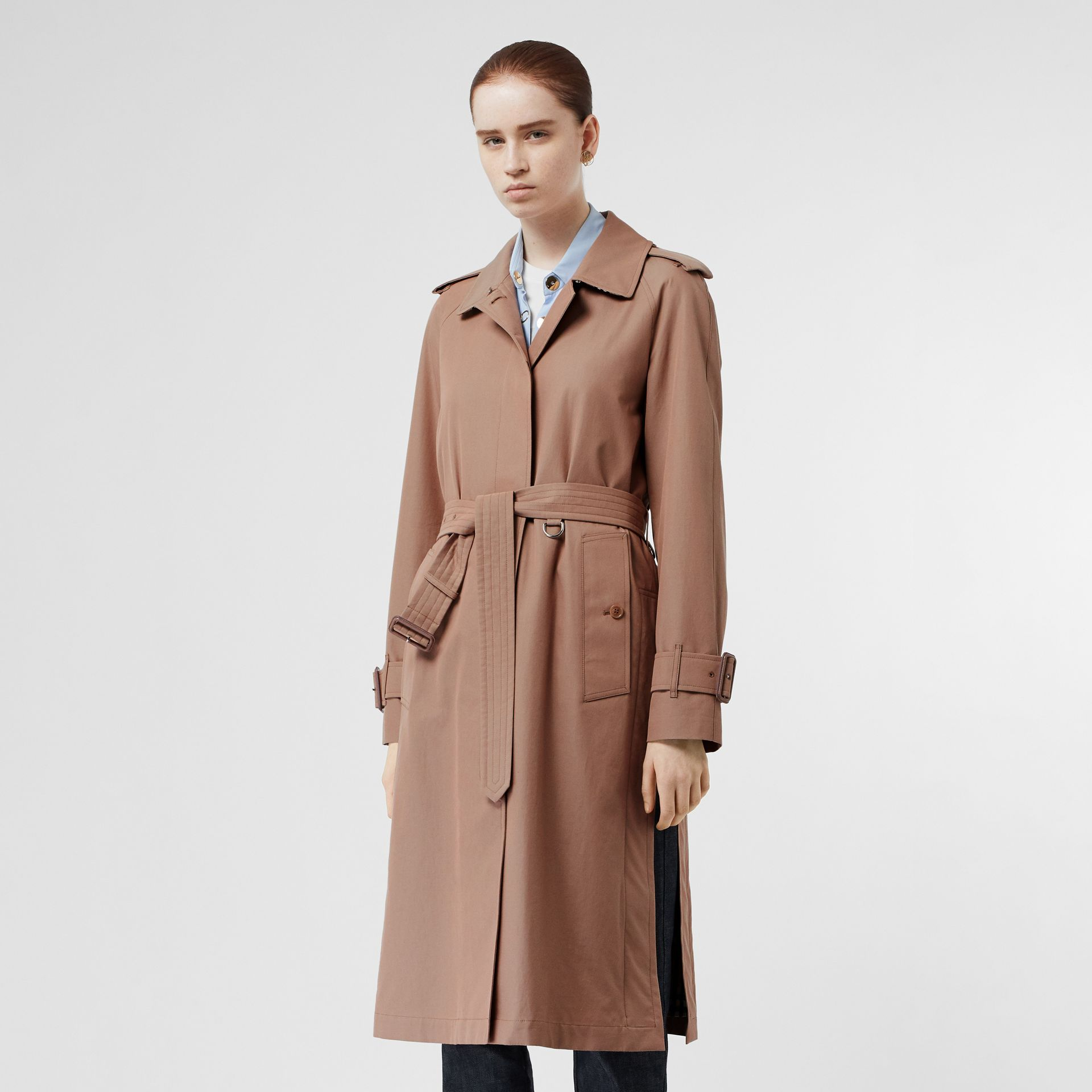 Tropical Gabardine Belted Car Coat in Pink Apricot - Women | Burberry - gallery image 5
