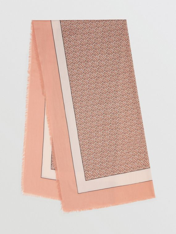Monogram Print Lightweight Cashmere Scarf in Pale Copper Pink
