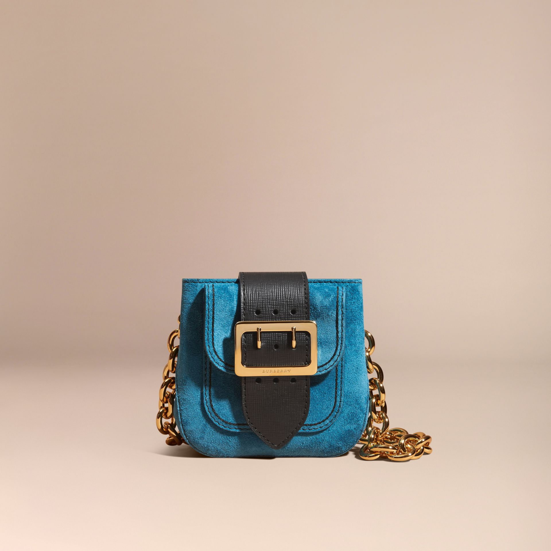 Peacock blue The Small Square Buckle Bag in Suede and Leather Peacock Blue - gallery image 9