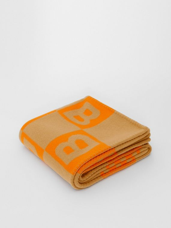 B Motif Merino Wool Cashmere Blanket in Orange