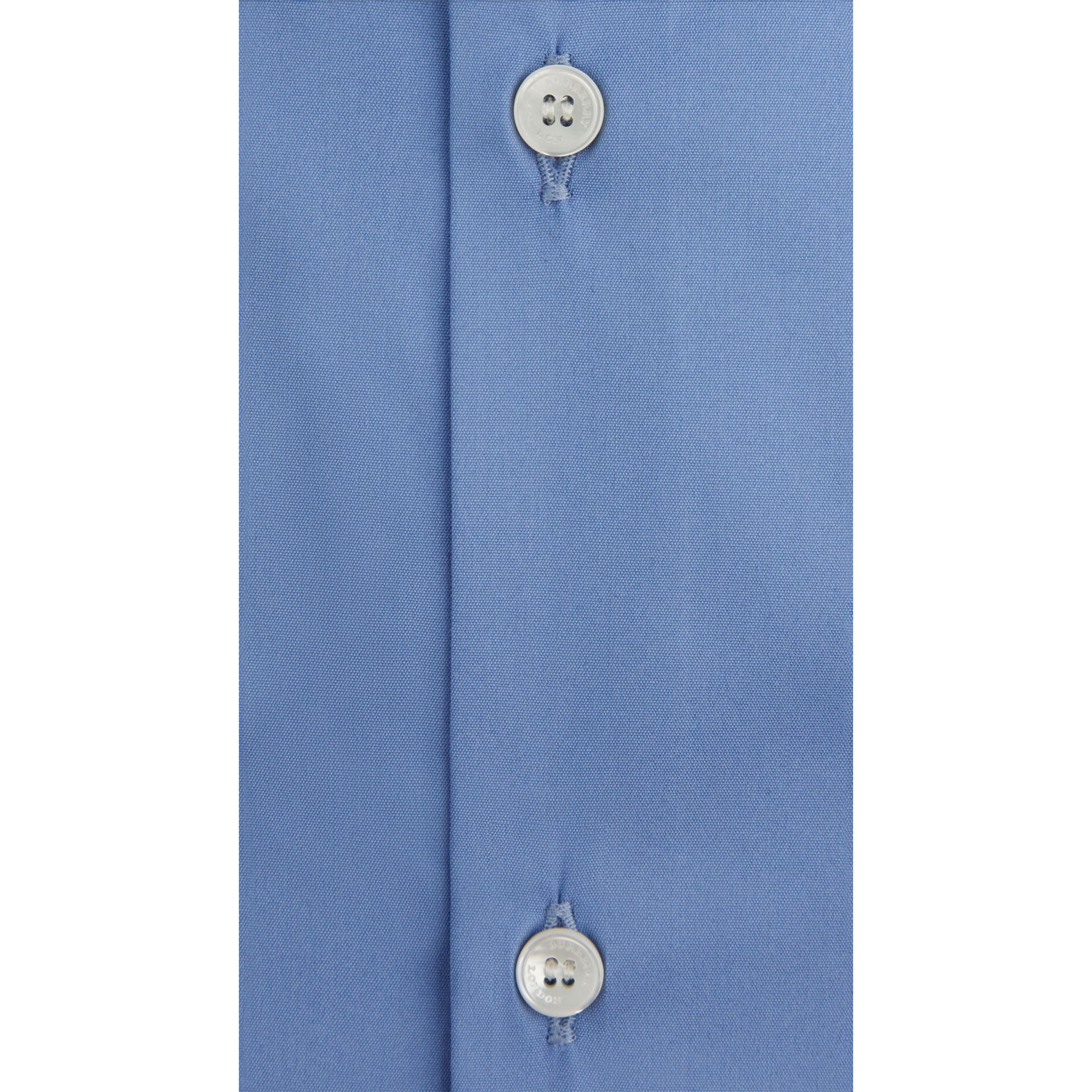 Slim Fit Stretch Cotton Blend Shirt in Mid Blue - gallery image 4