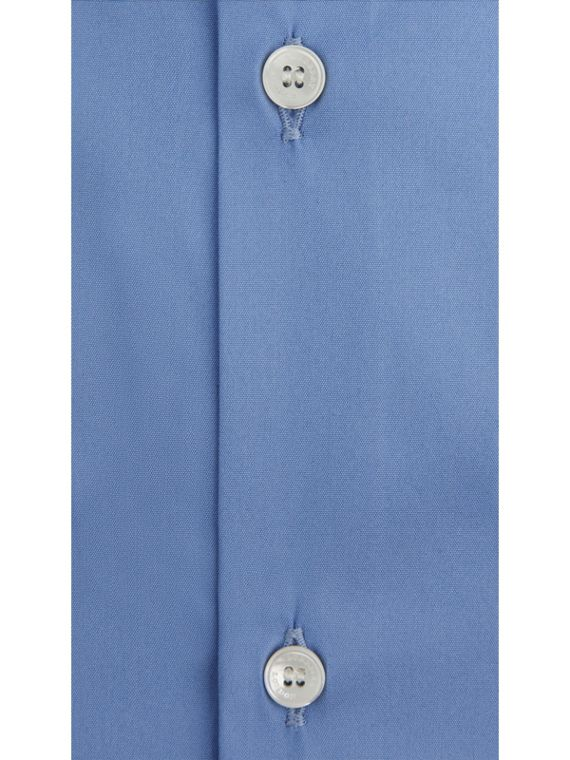Slim Fit Stretch Cotton Blend Shirt in Mid Blue - Men | Burberry - cell image 3