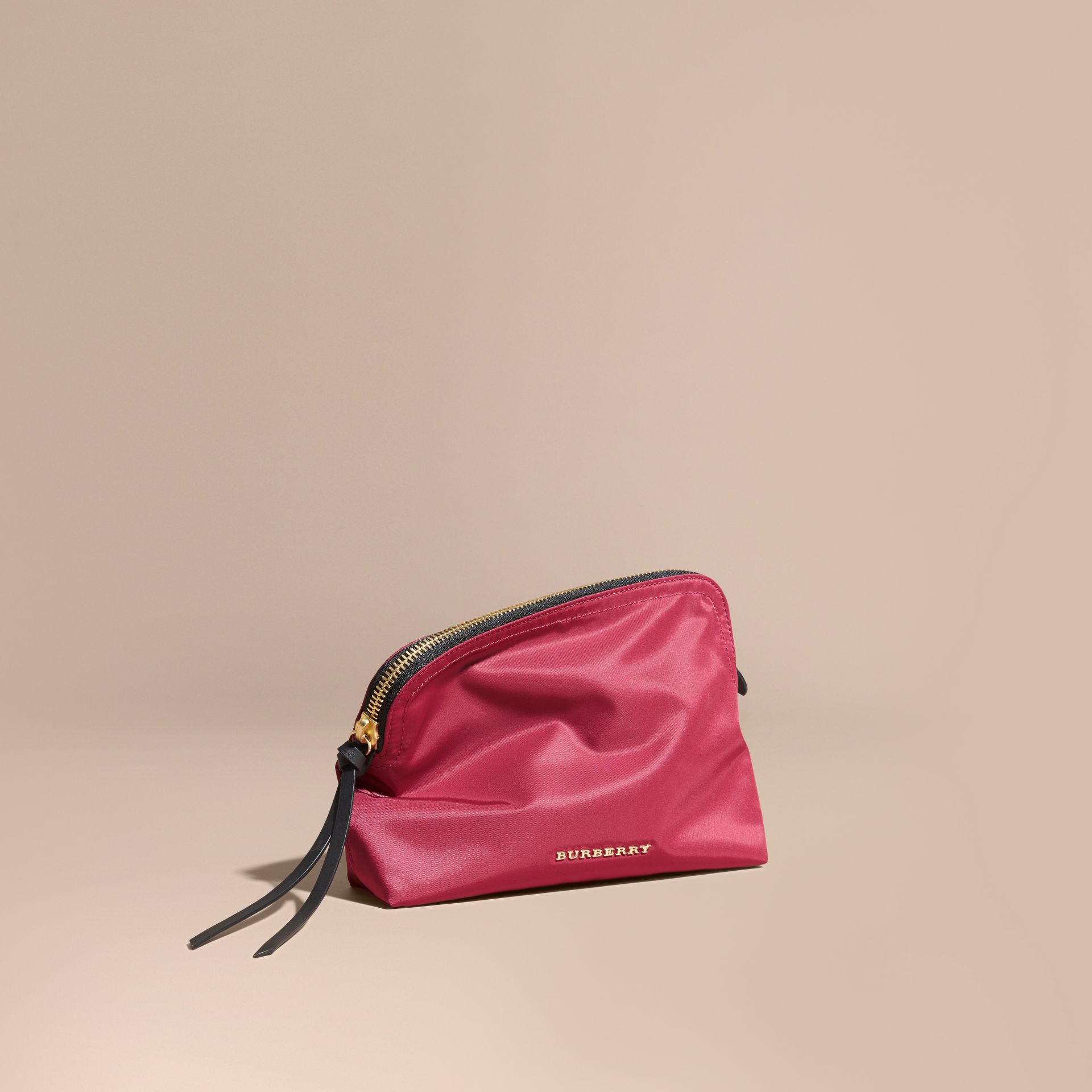 Large Zip-top Technical Nylon Pouch Plum Pink - gallery image 1