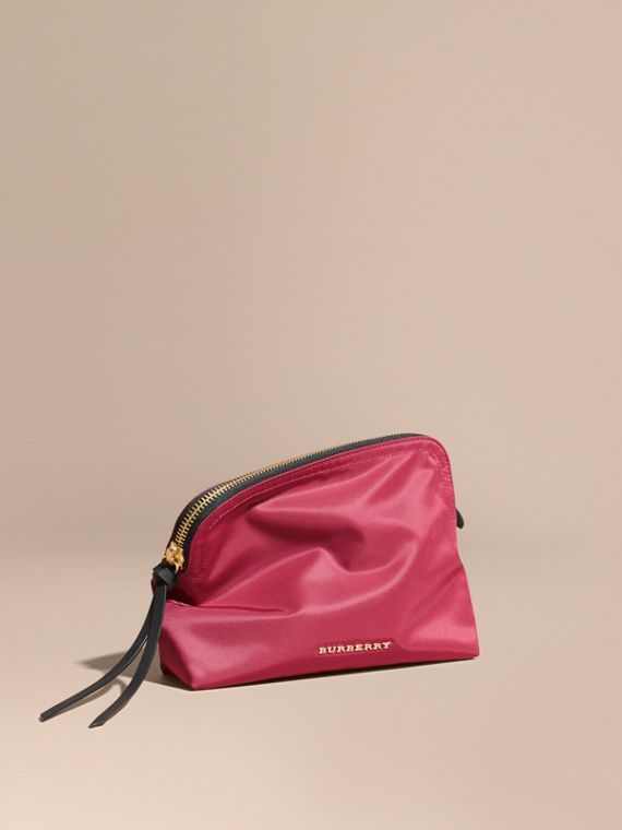 Large Zip-top Technical Nylon Pouch Plum Pink