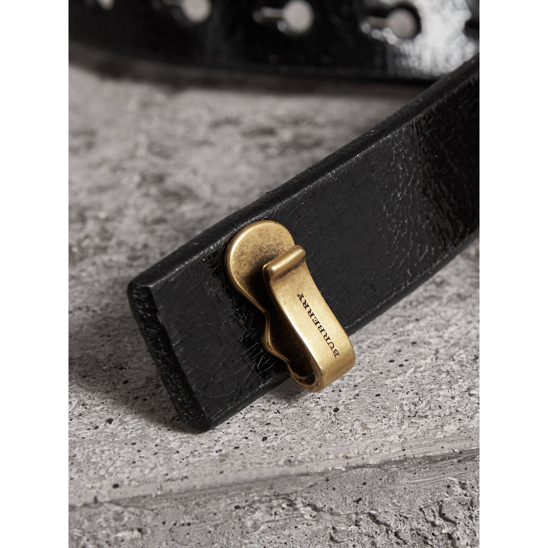Glossy Leather Belt in Black - Women | Burberry - gallery image 2