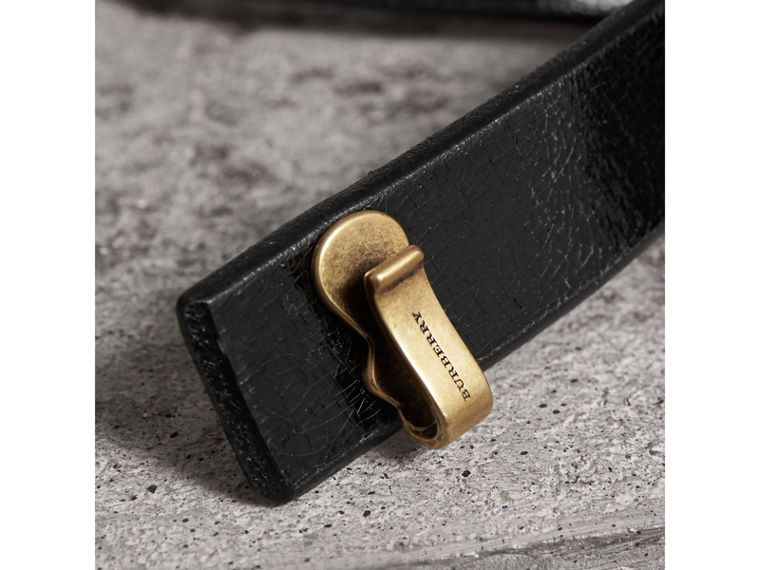 Glossy Leather Belt in Black - Women | Burberry Canada - cell image 1