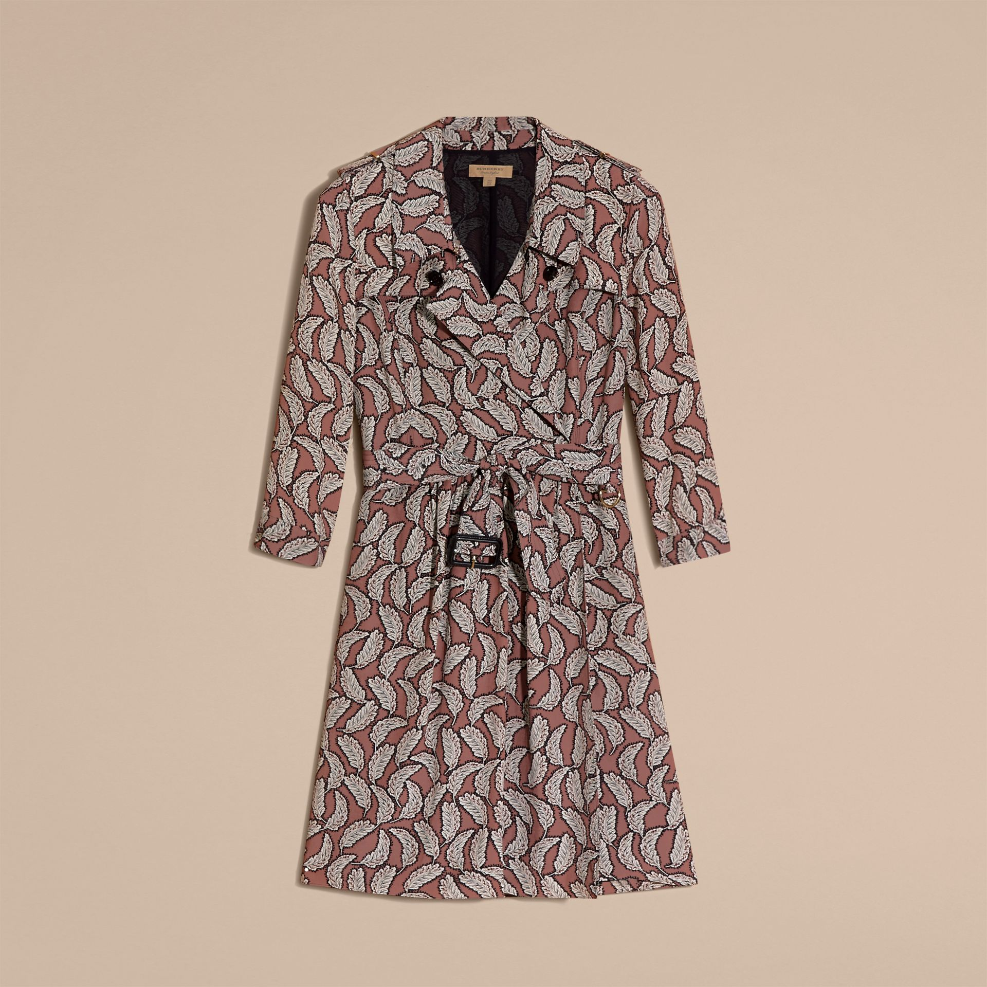 Pale pink Leaf Print Silk Trench Dress - gallery image 4