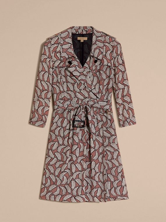Pale pink Leaf Print Silk Trench Dress - cell image 3
