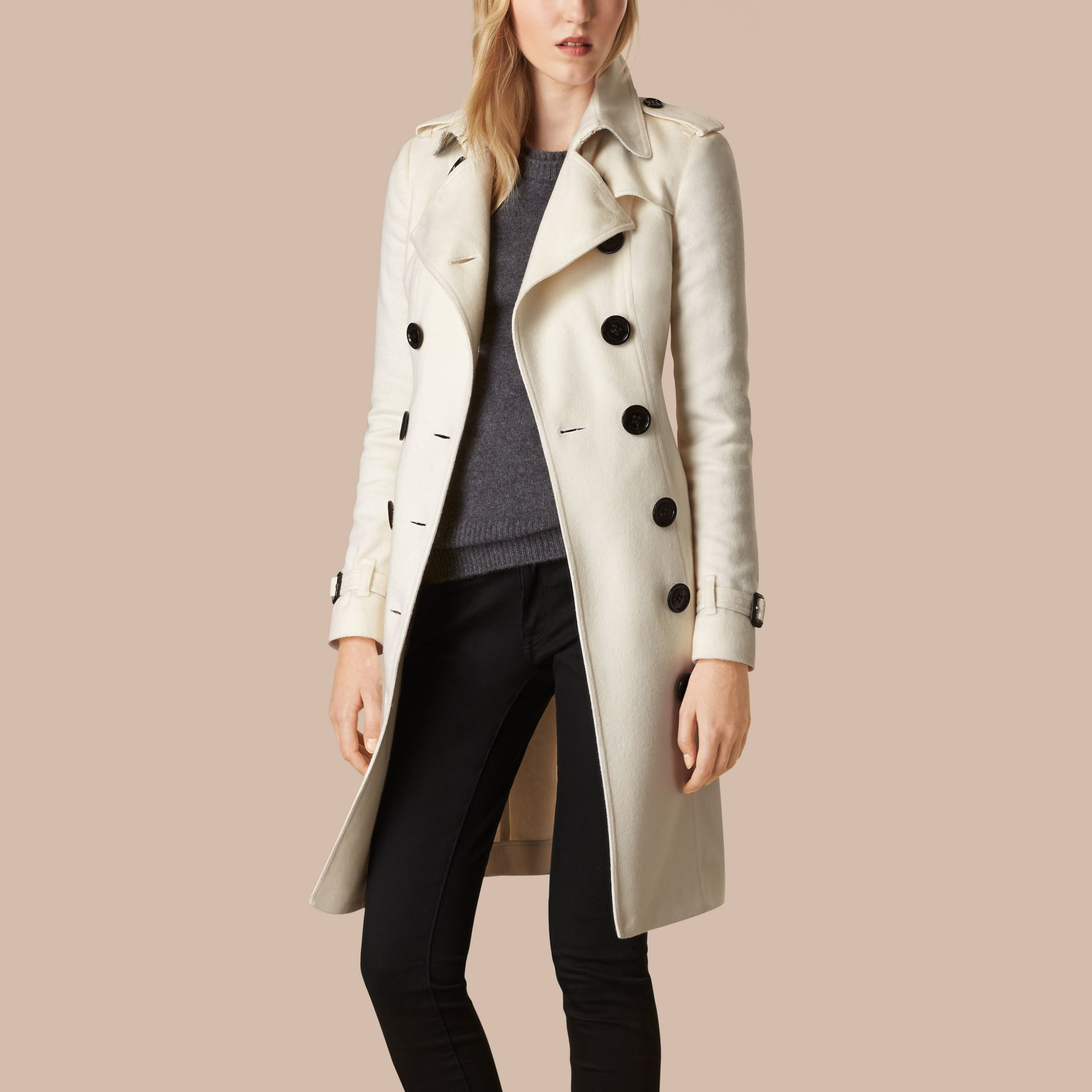 White Sandringham Fit Cashmere Trench Coat White - gallery image 3