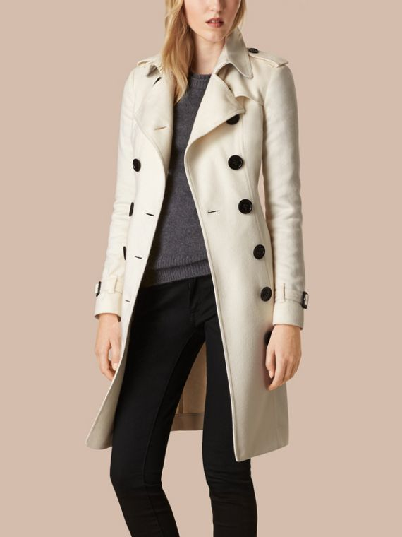 White Sandringham Fit Cashmere Trench Coat White - cell image 2